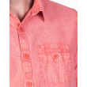 camisa lino estampada manga corta sobretintada